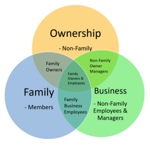Venn diagram of family, business and ownership systems