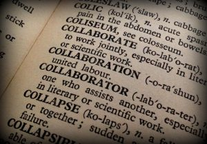Page of dictionary with the definition of Collaboration