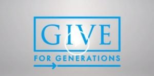 Blue and silver Give for Generations logo
