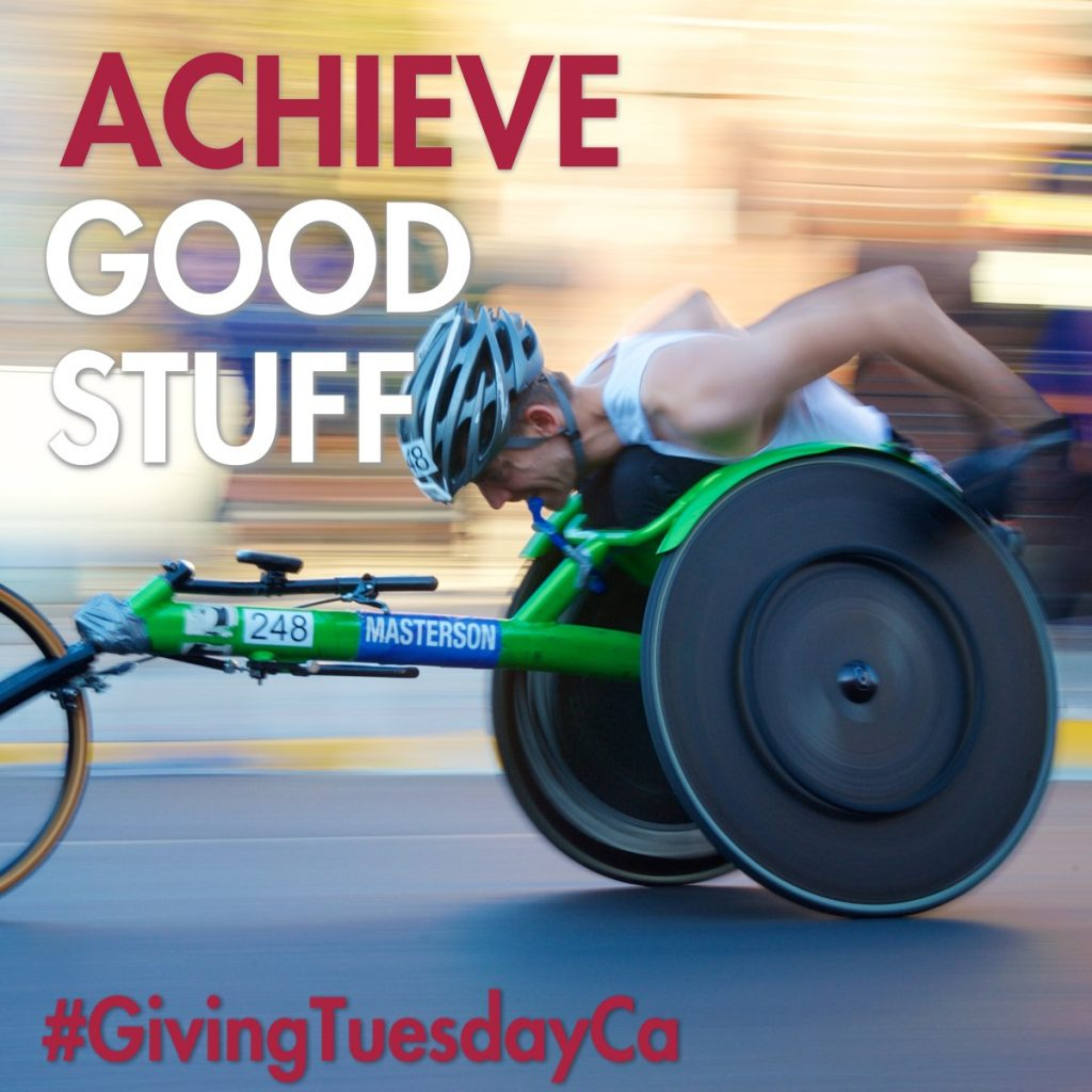 GivingTuesday man in a racing wheelchair