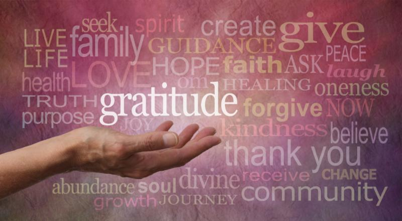 gratitude word cloud with pink background