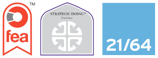 Accreditations: FEA; Strategic Doing Practitioner; 21/64 logos
